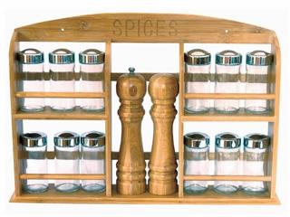 Полка для специй, 12 банок, мельница для перца, солонка, 45х7.5х31CM