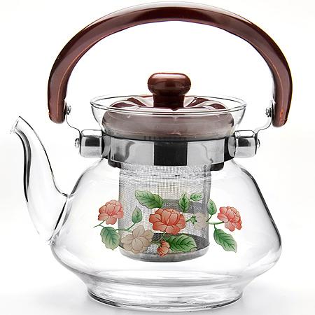 Чайник заварочный MB 0,8л стекл/мет/сит (х18)